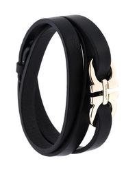 Ferragamo - Black Gancio Wrap Bracelet - Lyst