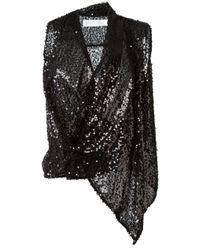 Victoria Beckham - Black Draped Sequin Top - Lyst