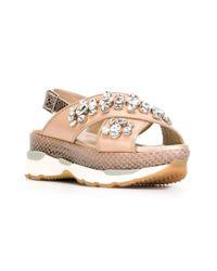 Philippe Model - Natural Crossover Strap Platform Sandals - Lyst