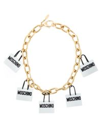 Moschino | Metallic Shopping Bag Charm Necklace | Lyst