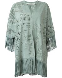 DROMe | Green Flower Cut-out Fringed Coat | Lyst