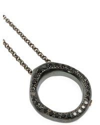 Rosa Maria - Metallic Diamond Loop Pendant Necklace - Lyst