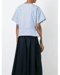 Céline - Blue Asymmetric Striped Top - Lyst