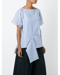 Céline - Blue Asymmetric Striped Top - Lyst