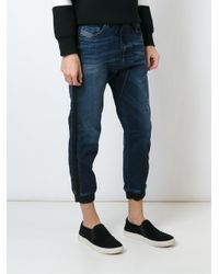 DIESEL - Blue Gathered Ankle Jeans for Men - Lyst