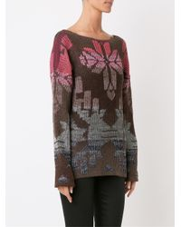 Cecilia Prado - Brown Geometric Pattern Knitted Blouse - Lyst