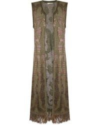 Cecilia Prado - Green Open Front Long-length Waistcoat - Lyst