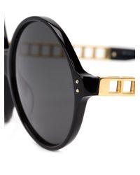 Linda Farrow - Black Round-shaped Oversized Sunglasses - Lyst