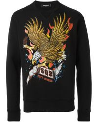 DSquared² | Yellow Eagle Print Sweatshirt for Men | Lyst