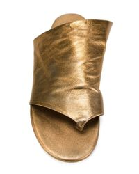 Marsèll - Metallic Open-Toe Leather Flip-Flops - Lyst