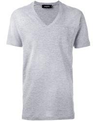 DSquared² | Gray - V-neck T-shirt - Men - Cotton/viscose - Xs for Men | Lyst