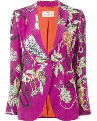 Etro | Orange - Floral Paisley Print Jacket - Women - Silk/polyamide - 44 | Lyst