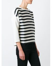 Moncler - White Striped Sweatshirt - Lyst
