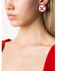 Moschino - Red 'clothed For Construction' Clip-on Earrings - Lyst