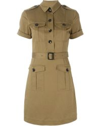 Burberry Brit | Natural Belted Military Shirt Dress | Lyst