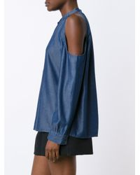 Nicole Miller - Blue Bare Shoulder Blouse - Lyst