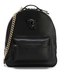 Versace | Black Palazzo Chain Backpack | Lyst