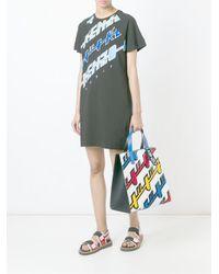 KENZO - Black Logo Print T-shirt Dress - Lyst