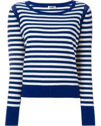 Sonia by Sonia Rykiel | White Sailor Stripe Shoulder Crochet Detail Jumper | Lyst
