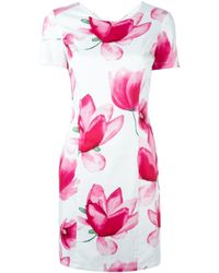 Armani Jeans Blue Floral Print Fitted Dress