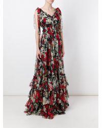 Dolce & Gabbana - Black Daisy And Poppy Print Dress - Lyst