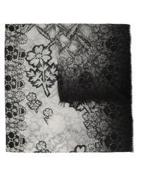 Alexander McQueen | Black Block Print Daisy Skull Scarf | Lyst