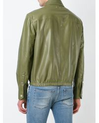 Bally | Green Zipped Leather Jacket for Men | Lyst