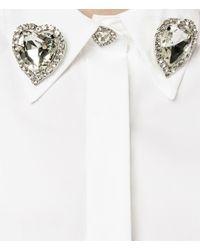 Christopher Kane - White Jewel Collar Sleeveless Shirt - Lyst