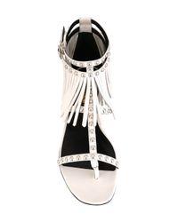 Saint Laurent - White Nu Pieds Leather Sandals - Lyst