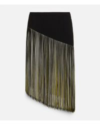 Christopher Kane - Black Mini Skirt With Asymmetric Fringing Strip - Lyst