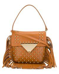 Sara Battaglia | Brown Amber Fringe-trim Leather Shoulder Bag | Lyst