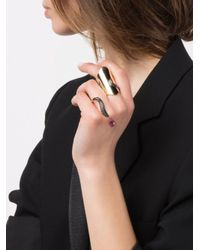 Dionea Orcini - Metallic 'marquise' Double Ring - Lyst