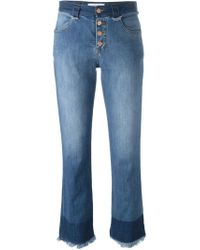 See By Chloé | Blue Frayed Cropped Jeans | Lyst