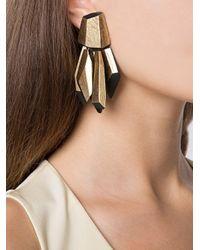 Monies - Metallic Faceted Tassel Clip-on Earrings - Lyst