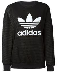 Adidas Originals - Black Logo Print Mesh Sweatshirt - Lyst