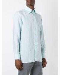 Canali - Blue - Classic Shirt - Men - Linen/flax - Xxl for Men - Lyst