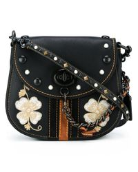 COACH | Black - Embroidered Flower Crossbody Bag - Women - Leather - One Size | Lyst