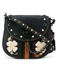 COACH | Black Embroidered Flower Crossbody Bag | Lyst