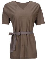 Astraet - Gray Belted V-neck T-shirt - Lyst