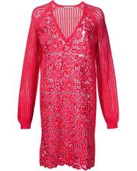 Marco De Vincenzo - Pink Lace V Neck Dress - Lyst