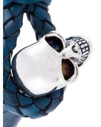 Alexander McQueen - Blue Woven Skull Bracelet for Men - Lyst