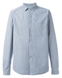 A p c snap button denim shirt in blue for men lyst for Mens shirts with snaps instead of buttons