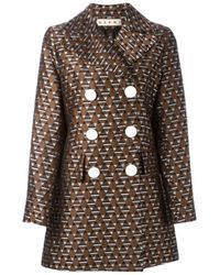 Marni | Brown 'magi' Jacquard Double Breasted Jacket | Lyst