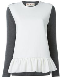 Marni - Gray Knitted Combo Top - Lyst