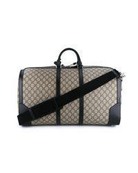 Gucci - Black Logo Pattern Holdall for Men - Lyst