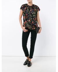 Balenciaga - Black Floral Pattern Pleated Top - Lyst