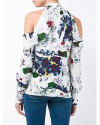 Erdem - White Printed Cut-off Shoulders Blouse - Lyst