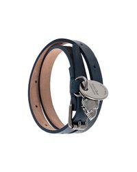 Alexander McQueen - Gray Skull Charm Double Wrap Bracelet for Men - Lyst