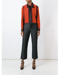 Marc Jacobs - Red Striped Pussy Bow Shirt - Lyst