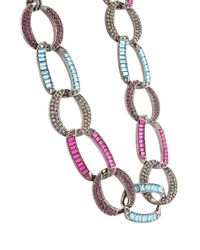 Oscar de la Renta - Multicolor Embellished Chain Link Necklace - Lyst